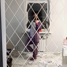 Pegatinas de espejo 3D para pared, calcomanías artísticas autoadhesivas con forma de diamante, para decoración del hogar y fondo de TV, 1x1M