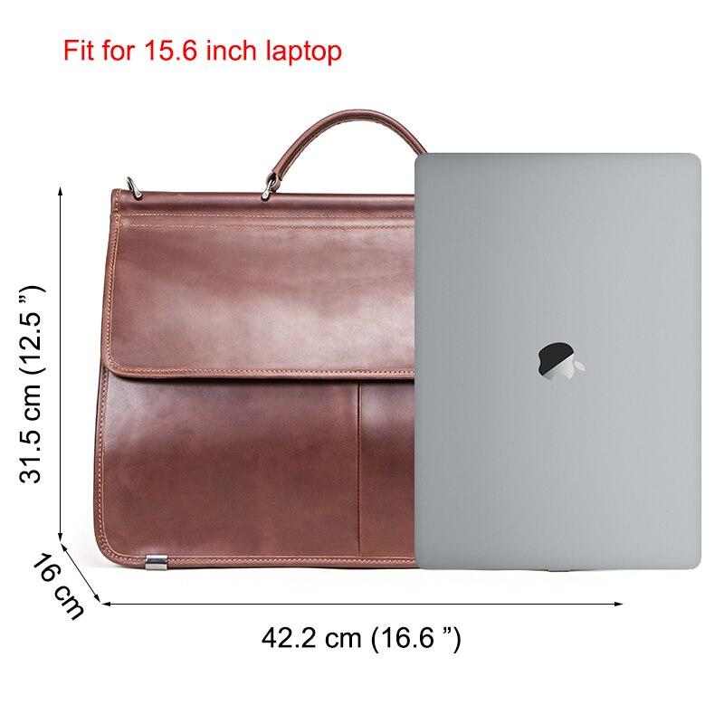 "Image 3 - CONTACTS Casual Men Laptop Bag for 15.6"" Business Men Briefcase Genuine Leather Messenger Shoulder Bags Male Tote Bag BolsasBriefcases   -"
