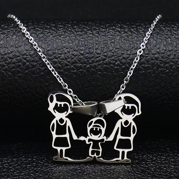 Unisex Family Necklace Jewelry Necklaces Women Jewelry Metal Color: new 2mom 1 boy