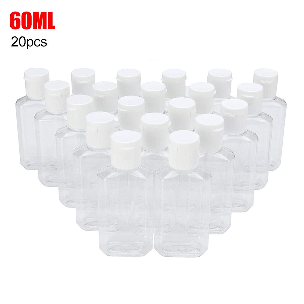 20Pcs 60ml Portable Travel Clear Empty Refillable Sanitizer Liquid Soap Bottle Water-free Hand Sanitizer Plastic Bottles