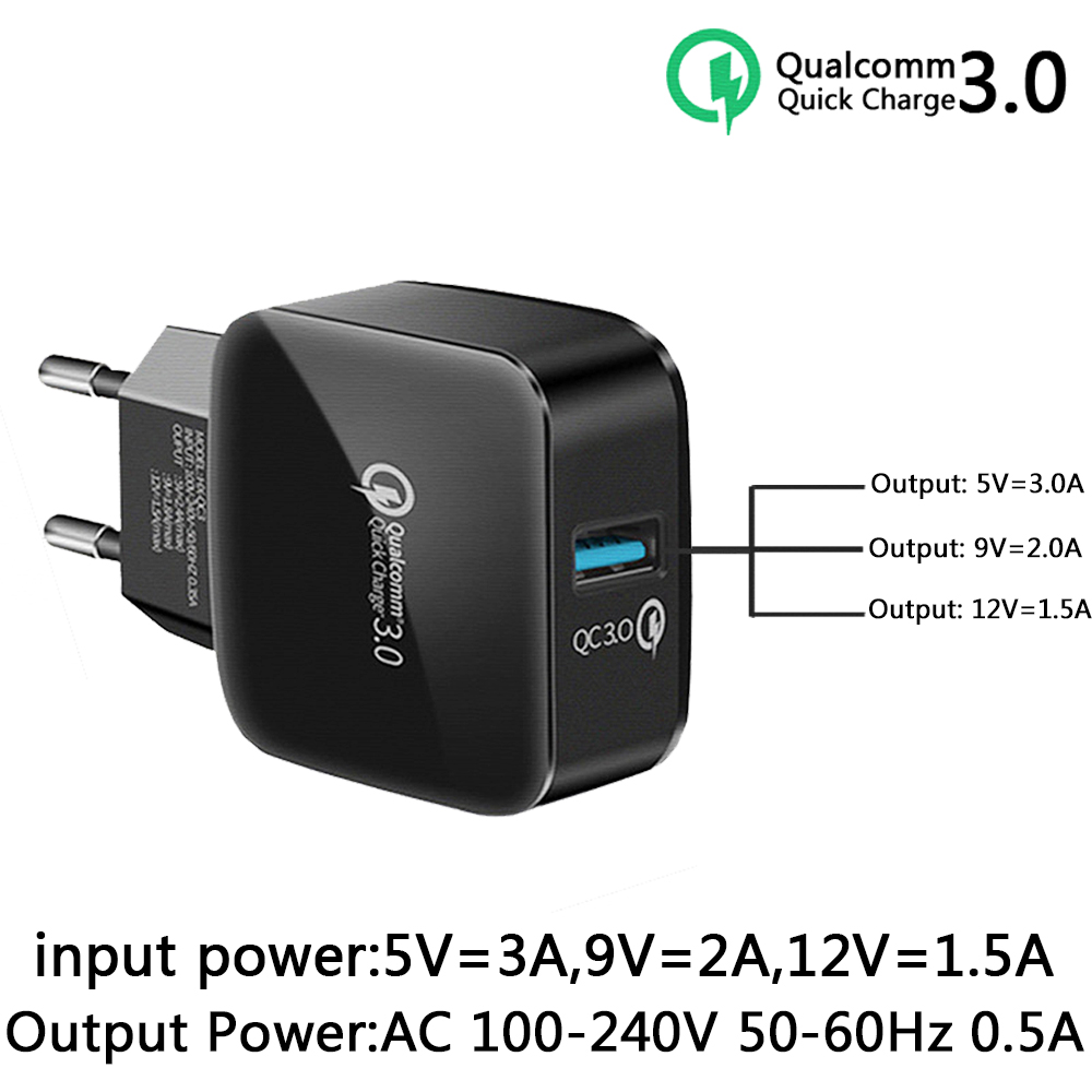 New QC 3.0 <font><b>50</b></font>-60Hz <font><b>USB</b></font> mobile Fast charger quick charge For <font><b>Samsung</b></font> iPhone Huawei Xiaomi HTC LG Mobile Phone Charger image