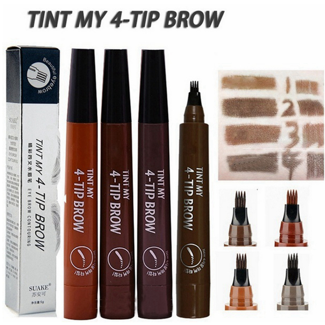Microblading Eyebrow Tattoo Pen Waterproof 4 Fork Tip Eyebrow Tattoo Pencil Professional Fine Sketch Liquid Eye Brow Pencil Tint 2