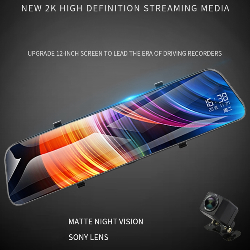 New Car 12 Inch 170°Wide Angle Dash Cam Car Dvrs Camera 2K HD TFT LCD Display Dual Camera Recorde