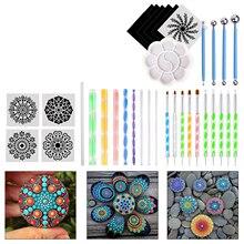 16/18/34/35 PCS DIY Mandala Dotting Tools Set Artist Painting Brush Supplies Student School For Painting Rocks Coloring Drawing