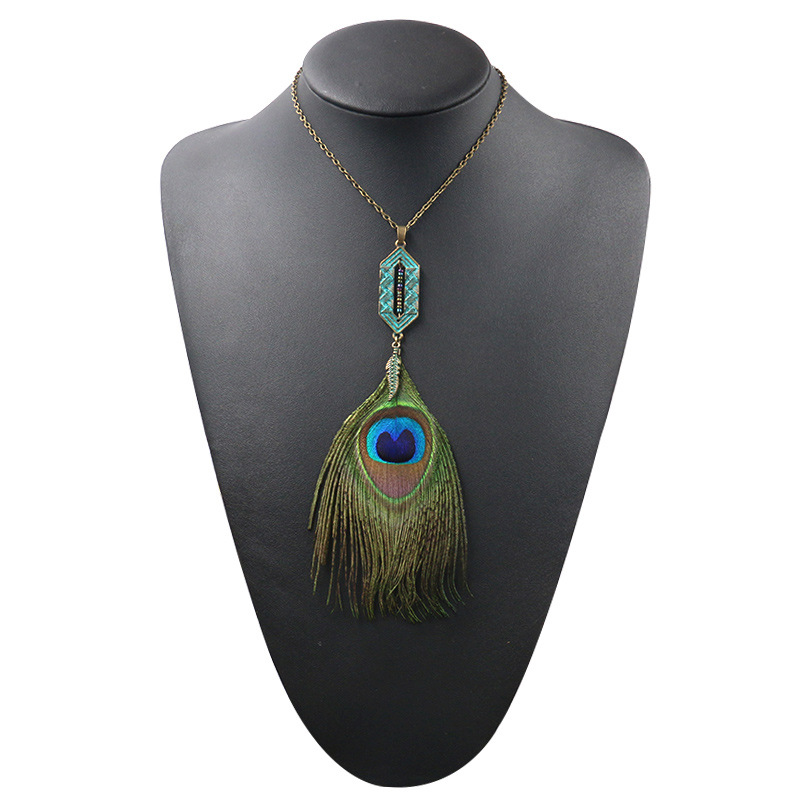 Hcc5ee935baf14d3e824cdd7c57eb11daS - Women Bohemian Ethnic Long Chain Feather Pendant Dreamcatcher Necklace Choker Boho Clothing Jewelry Accessories