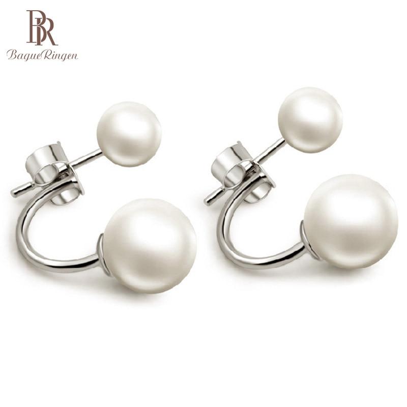 Bague Ringen Elegant Shell Pearl Earrings For Women Silver 925 Jewelry Korean Style Fashionable Ear Studs Dating Sweet Girl Gift