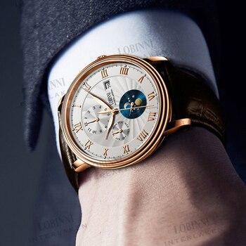 Switzerland LOBINNI Men Watches Luxury Brand Automatic Watch For Men Mechanical Clock Sapphire Leather relogio masculino 2019 switzerland nesun women s watches luxury brand clock automatic mechanical wristwatches waterproof relogio feminino n9073 2