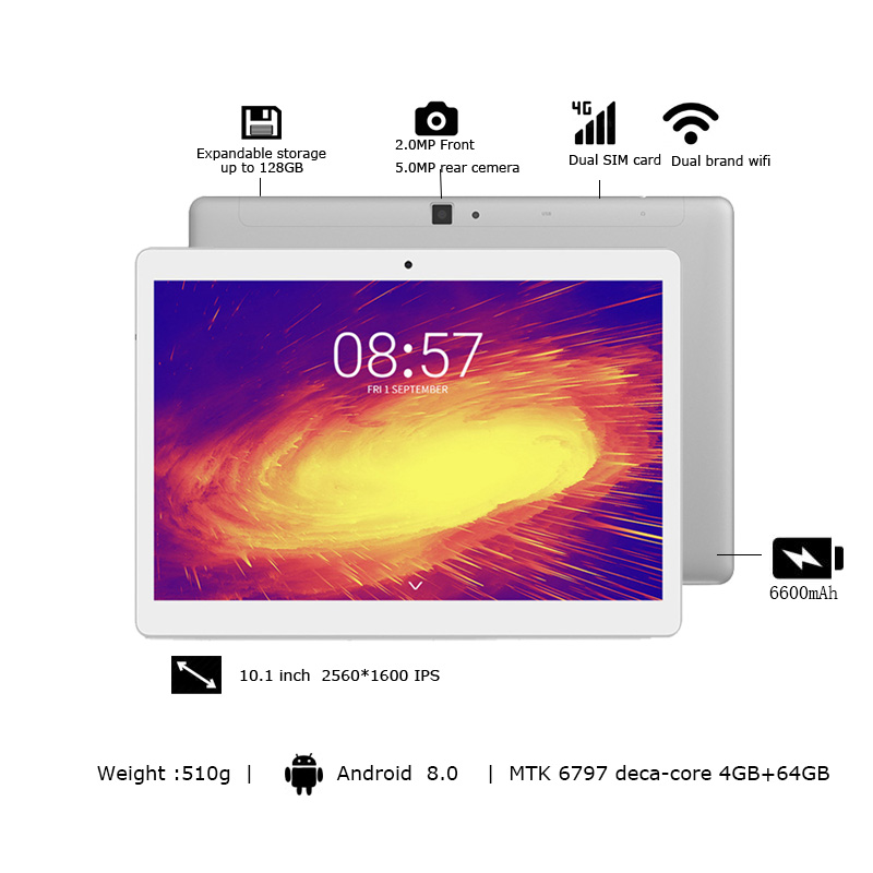 Image 2 - Планшет ALLDOCUBE M5X, 10,1 дюйма, Android 8,0, 4 Гб ОЗУ 64 Гб ПЗУ, MTK X27, 4G LTE, 10 ядер, телефонные звонки, планшеты, ПК 2560*1600 ips, подарок ребенкуПланшеты    АлиЭкспресс