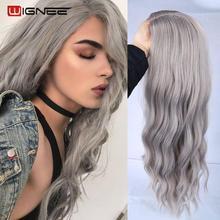 Wignee Ombre uzun dalgalı gri isıya dayanıklı sentetik peruk için WomenBrown sarışın/gri amerikan Cosplay/parti doğal saç peruk