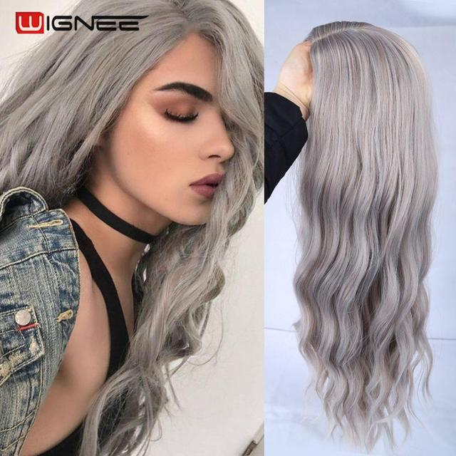 Wignee Ombre длинный волнистый серый термостойкий синтетический парик для женщин коричневый блонд/Серый Американский косплей/вечерние парики из натуральных волос