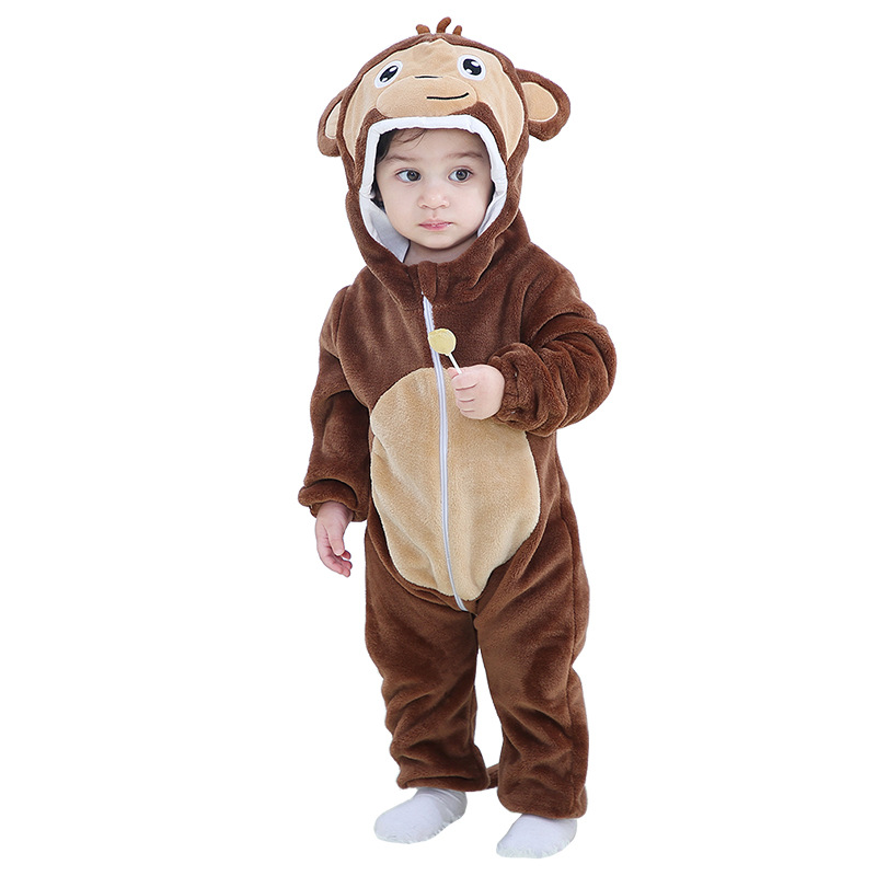 2020 Baby Clothes Infant Romper Cartoon Monkey Boys Girls Jumpsuit New Born Clothing Hooded Toddler Cow Cute Duck Baby Costumes