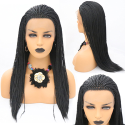 RONGDUOYI Black Color 2x Twist Braids Synthetic Long Glueless Lace Wig 500pieces Braided Lace Front Wigs For Women