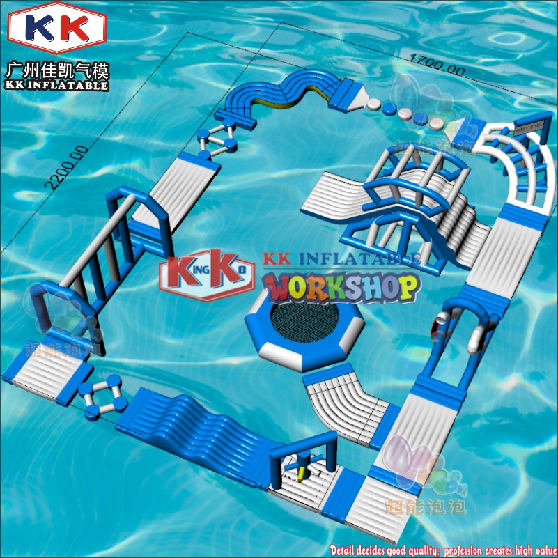 Outdoor Ocean Sea Water/Frame Pool Water Play Blue & White Color Inflatable Floating Waterpark