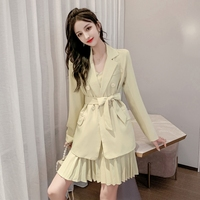 Korean Style Suit 2019 Autumn New Solid Slim Sling Pleated Dress Female +long sleeve Double breasted Pocket Belt Suit Coat