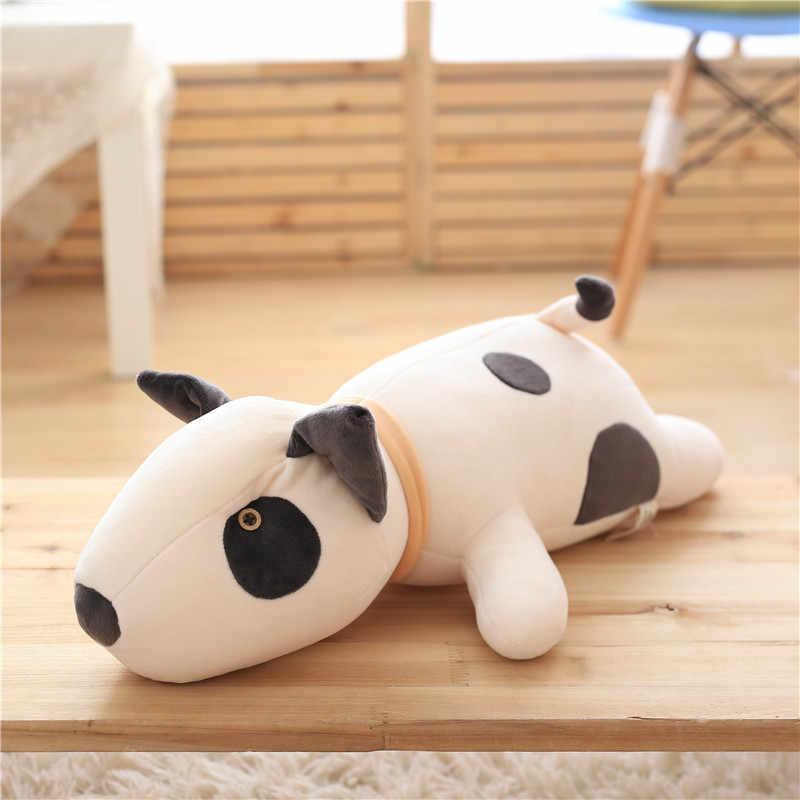 Bull Terrier köpek peluş oyuncak Kawaii yumuşak doldurulmuş yastık güzel köpek şekli yastık çocuklar için doğum günü hediyesi 55cm