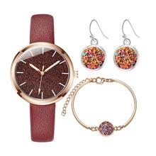 Fashion Simple Women Watches Jewelry Quartz Earrings&Bracele