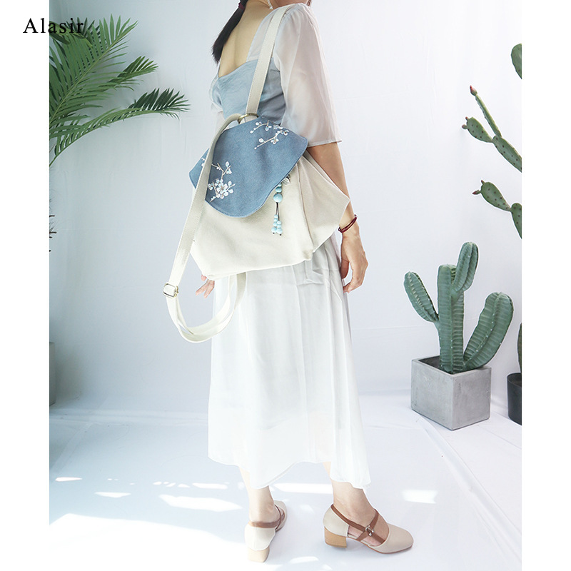 Alasir Original Hand-painted Travel Bags High-quality Canvas Women Bags Chinese Style Retro Art Lotus Plum Shoulder Backpack