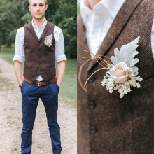 Темно-коричневые шерстяные жилеты для жениха из твида с узором в елочку, приталенные Свадебные вечерние жилеты для мужчин, жилет жениха на выпускной