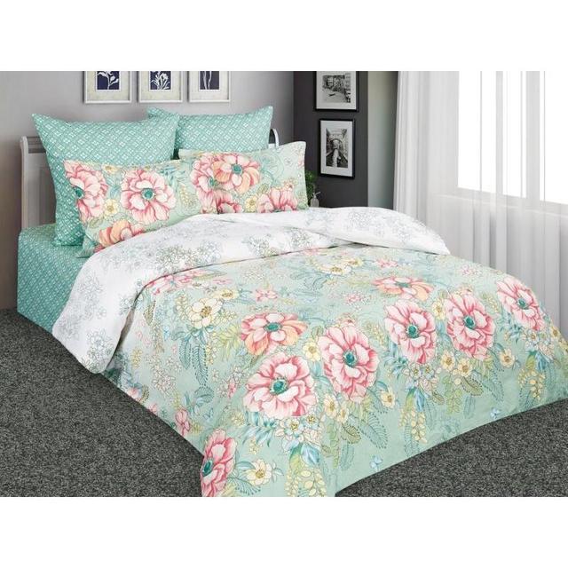 Комплект постельного белья полутораспальный Amore Mio, зеленый, с цветами