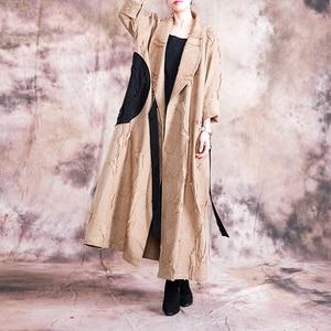 Image 3 - Johnature automne/hiver 2019 nouveau manteau de Trench Vintage femmes col rabattu ample longue Patchwork réglable taille manteau