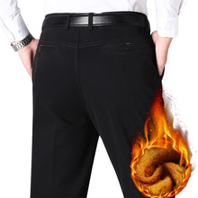 秋冬メンズ暖かいフリースクラシックブラックコットンパンツメンズビジネスのズボン品質カジュアルワークパンツオーバーオール