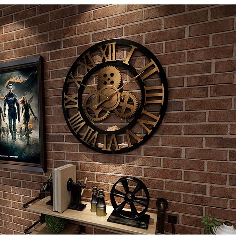 Wall-Clock Decorative Industrial-Gear Metal Age-Style Retro title=