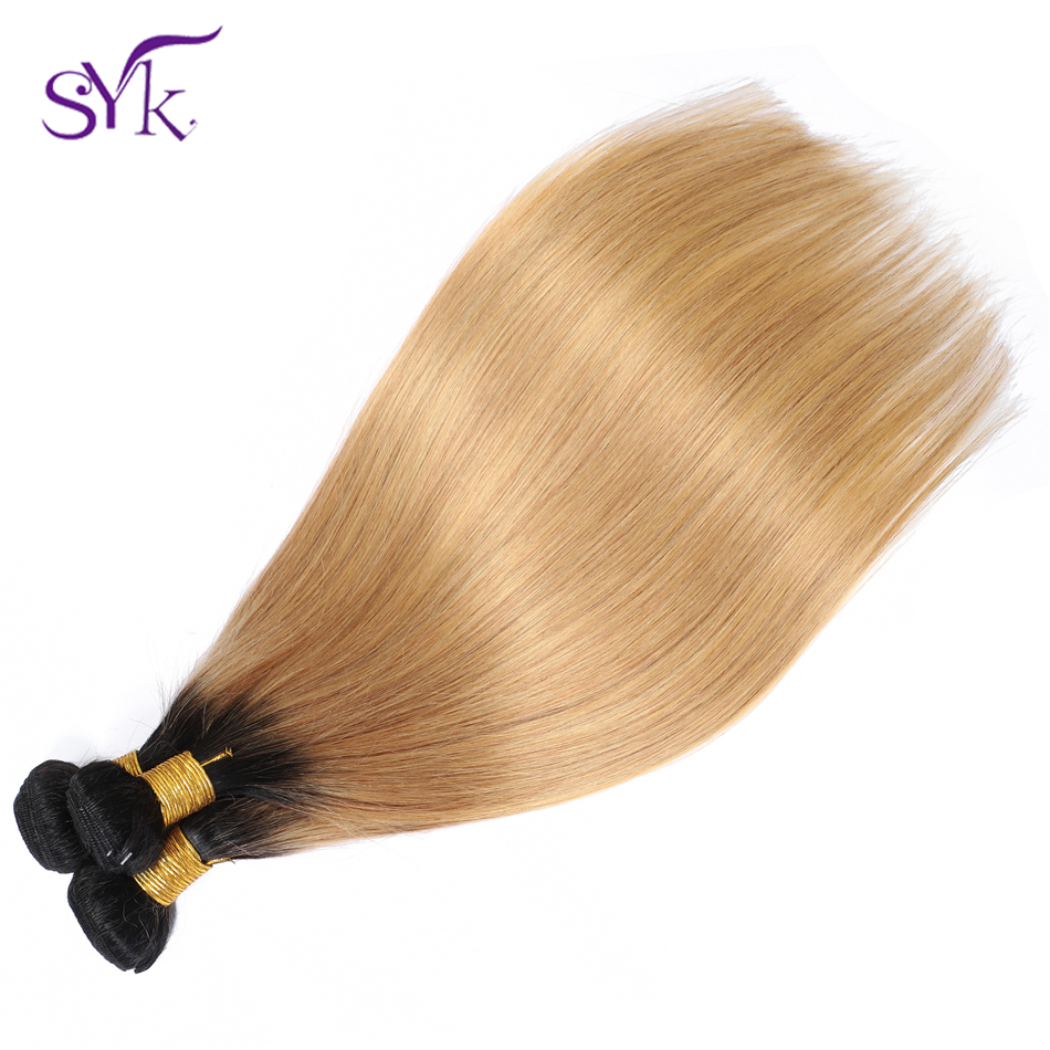 SYK Ombre Straight Hair Bundles T1B/27 Brazilian Human Hair Weaves 3 Bundles Hair Pre Colored Non Remy Hair Extensions