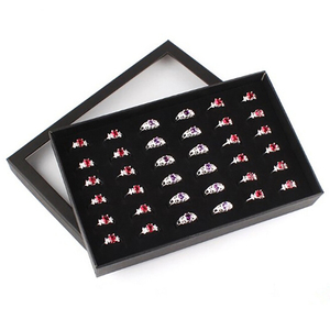 Earrings Jewelry Display Holder Organizer Practical Show Case Transparent Window PVC 36 Slots Ring Box Tray Storage Case