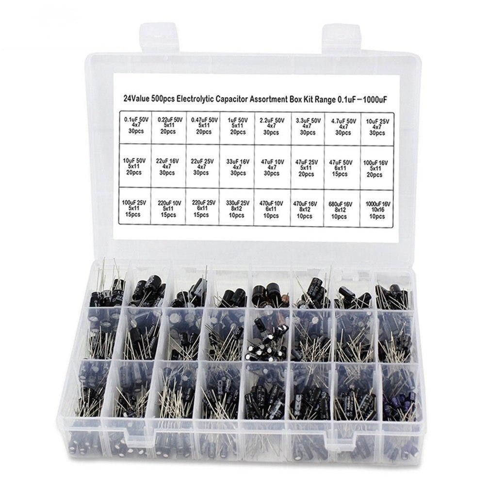 500Pcs/Set 0.1μF-1000μF 24Values Aluminum Electrolytic Capacitors 16-50V Mix Electrolytic Capacitor Assorted Kit