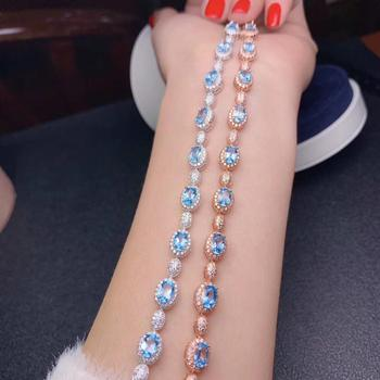 luxury style charming blue topaz gemstone bracelet for women 925 Sterling silver bracelet natural gem good color birthday gift