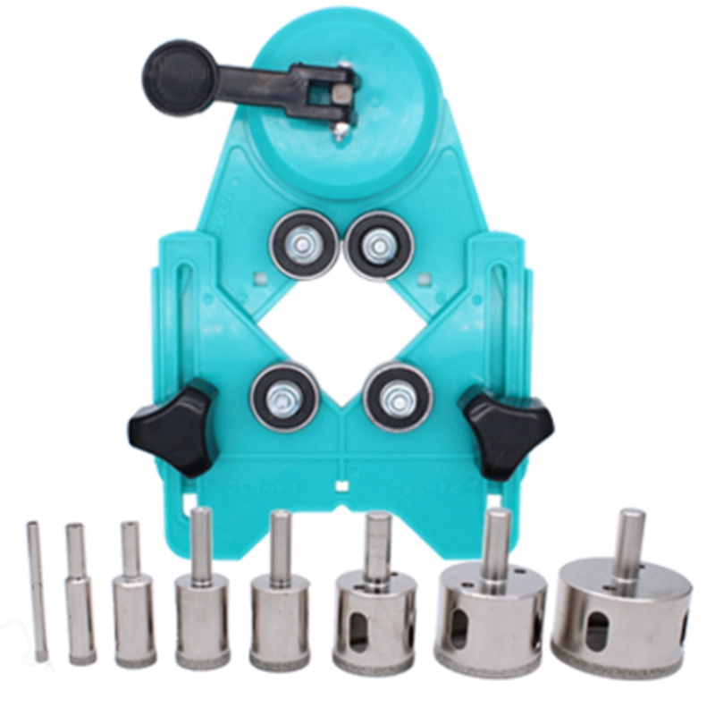 9Pcs 4-83 Mm Drill Guide Vacuum Base Sucker With 5-50 Mm Diamond Coated Glass Drill Bit Fit Tile Glass Hole Saw Openings Locator