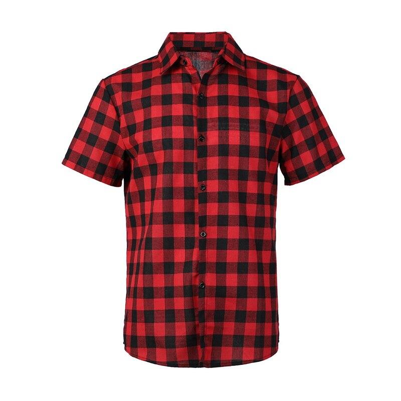MENORE Red And Black Plaid Shirt Men Shirts 2020 New Summer Fashion Chemise Mens Checkered Shirts Short Sleeve Shirts Men