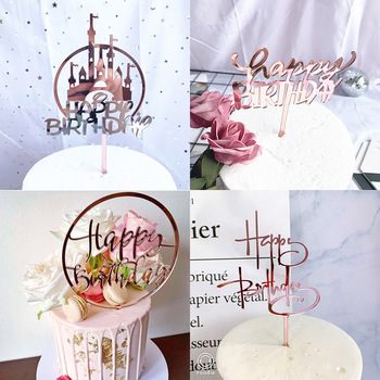 Promotional Acrylic Happy Birthday Cake Topper Rose Gold Silver For Kids Party Decorations Baby Shower - discount item  26% OFF Festive & Party Supplies