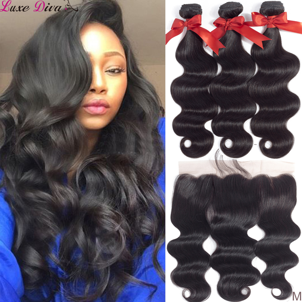 Luxediva Brazilian Body Wave 3 Bundles With Frontal Closure Human Hair Weave Bundles 13x4 Lace Frontal Medium Ratio Non-remy