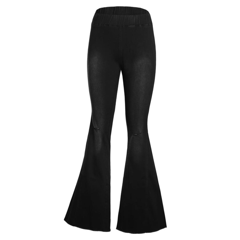 Women Vintage Flared Trousers High Waist Denim Bell Bottom Jeans Black