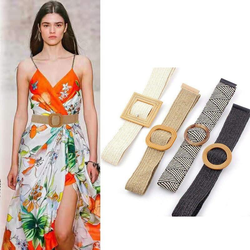 Vintage Round Wooden Buckle Women Belt Casual Female Braided Wide Strap Female Designer Woven Girls Elastic Straw Belts