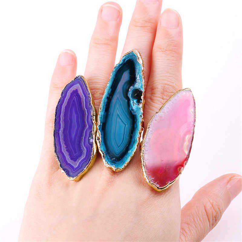 1 PC แหวน Agates Druzy Agates แหวนธรรมชาติตัดแหวน Palette Carnelian ด้านข้างเปิดแหวนทองสำหรับ Agates อุปกรณ์เสริม
