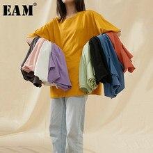 [EAM]-Camiseta Multicolor para mujer, ropa en varios colores, morado y amarillo, talla grande, cuello redondo, Media manga, Moda de Primavera y verano, 2021, 1T598