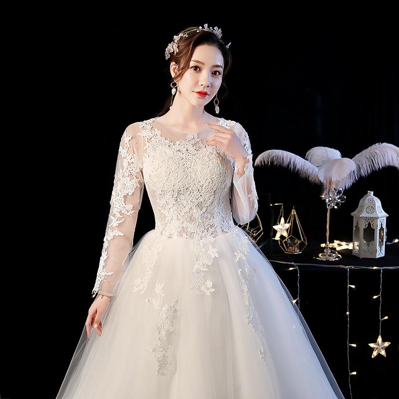 Long Sleeve Wedding Dress 2019 O Neck New Bride Dress Shoulder Chinese Wedding Dress Vestidos De Novia Robe De Mariage