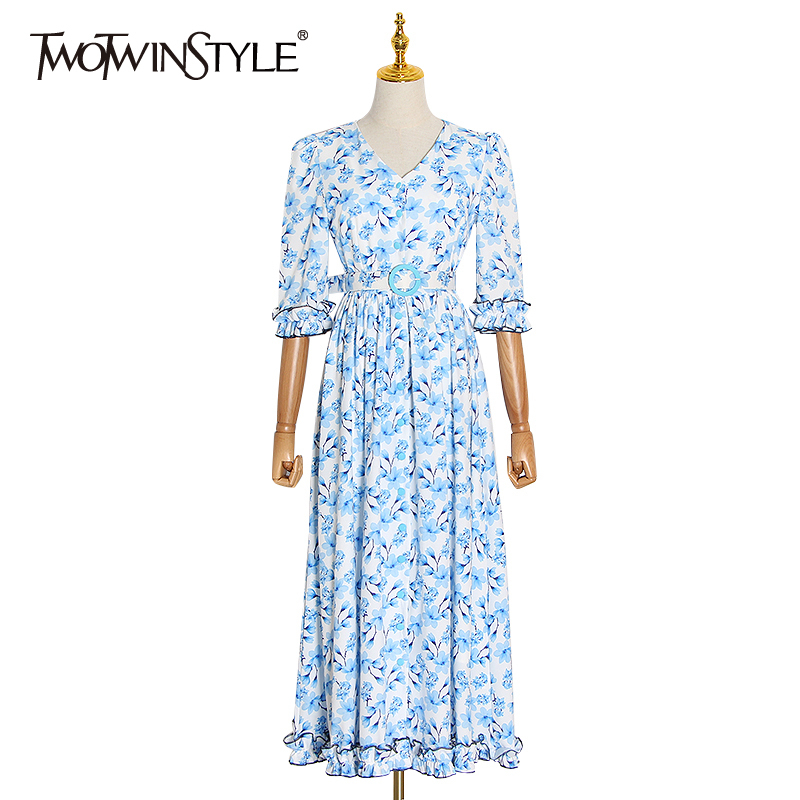 TWOTWINSTYLE Print Hit Color Dresses Female V Neck Petal Sleeve High Waist With Sashes Ruched Dress Women Clothing Fashion Tide