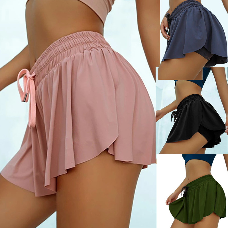 2020 Hot Sale Summer Anti Light Fake Two Piece Women Shorts Casual Sports Beach Mid Waist Solid Shorts Fashion Lace-up Ruffle 1