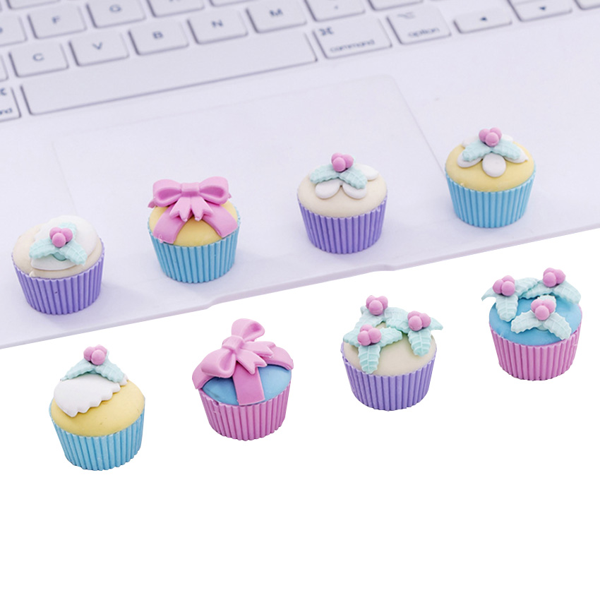 4pcs/pack Cute Fancy Dessert Cake Eraser Set Kawaii Stationery Gift School Office Supplies Kawaii Borracha Escolar