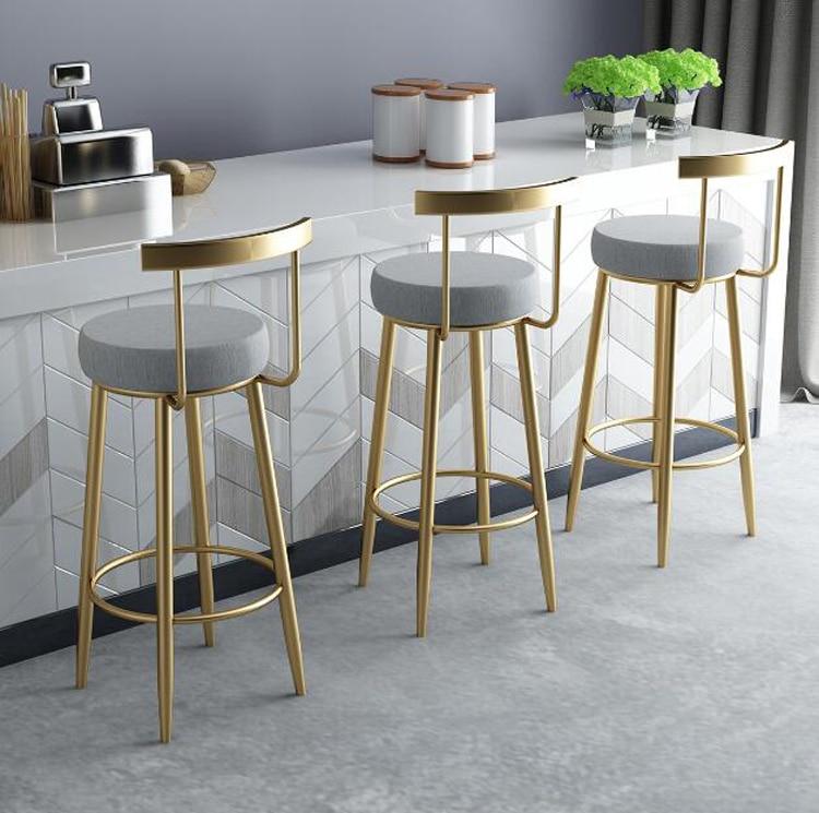 Nordic Bar Stools Cashier Stools Backrest Bar Chair High Chair Modern Fashion Casual Creative Golden Dining Chair 65cm 75cm
