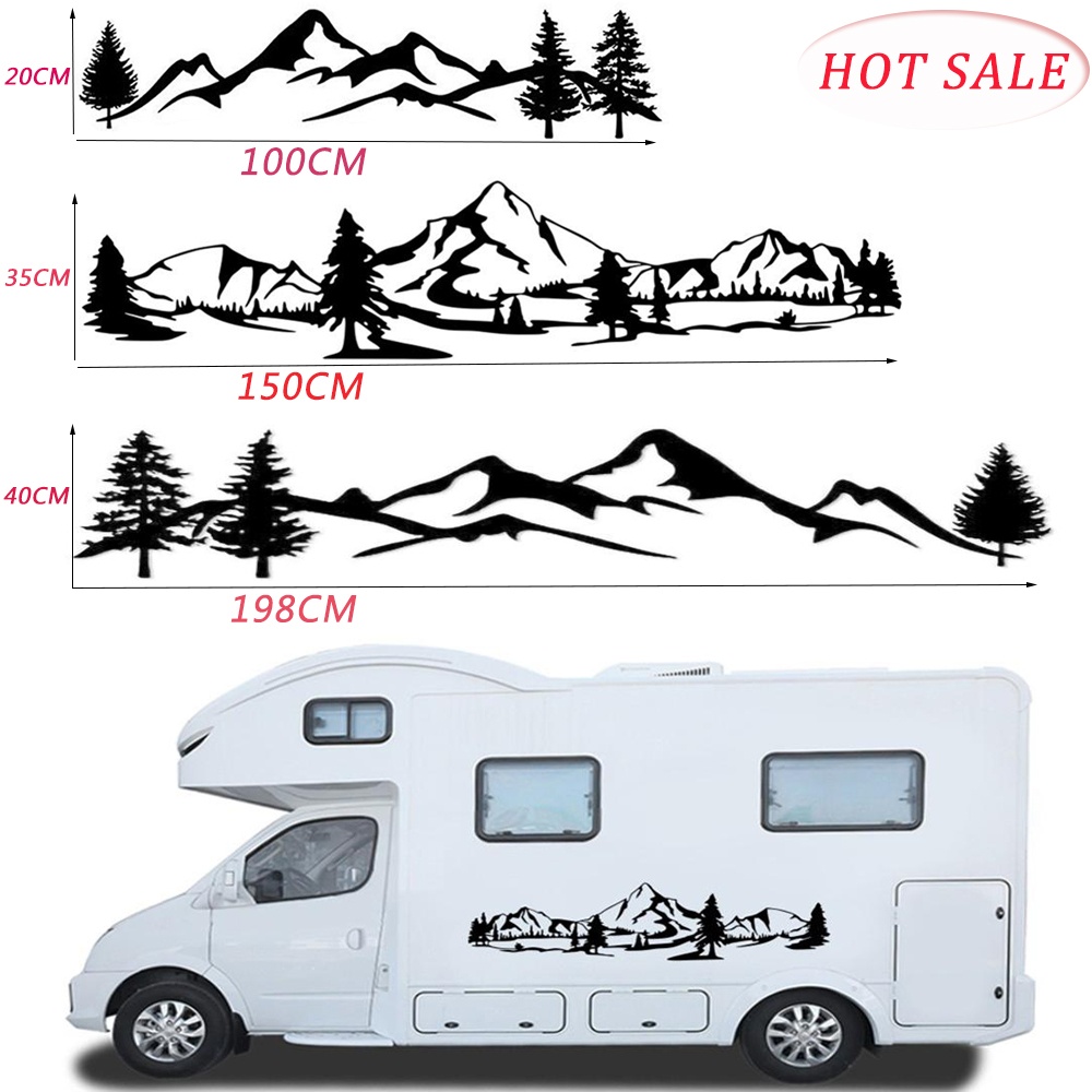 Hot Sale 150cm RV sticker Tree Decal Mountain Scene car Sticker Forest Vinyl Graphic Kit For Camper RV Trailer Car Accessories(China)