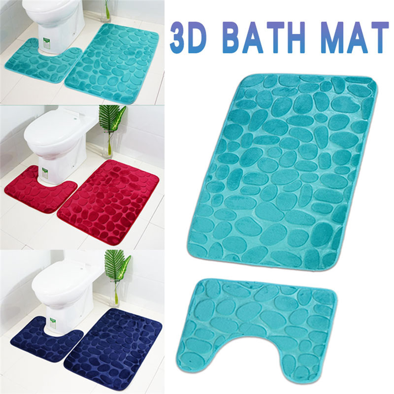 2pcs Anti Slip Bath Mat Bathroom Carpet
