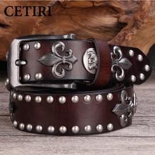 High Quality Metal Rivet Cowboy Belt Top Grain Genuine Leather Cowskin Men Belt Punk Rivet Jeans Belts For Men