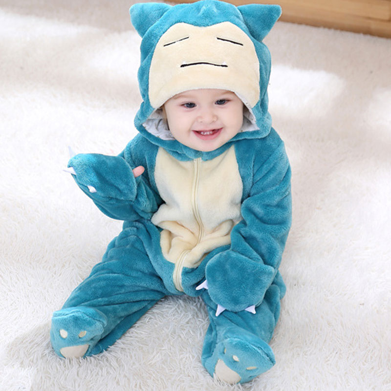 Snorlax Onesie Baby Romer Infant Cute Clothes 0 2 Y New Born Boy Girl Kigurumi Cartoon Funny Costume Pajama Soft Warm Outfit-in Rompers from Mother & Kids