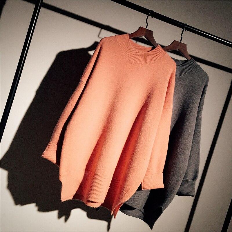 2019 hiver nouveau solide femmes pull et pulls tricoté en vrac épaissir chaud dame longs pulls mode vêtements d'extérieur manteau hauts
