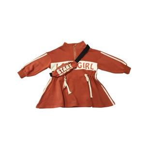 Image 5 - 2019 סתיו חדש הגעה קוריאנית סגנון כותנה אותיות מודפס loose אופנה ארוך שרוול הסווטשרט שמלת עבור מגניב מתוק babygirls