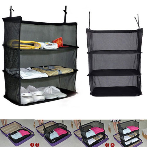 Three-layer Storage Hanging Bag Folding Sundries Mesh Net Portable Luggage System Hanging Travel Shelves Storage Bag Organizer